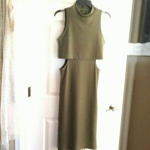GUC (REPOSH) TOPSHOP 6 DEEP GREEN CUT OUT dress